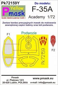 P-Mask PK72159Y F-35A (Academy) Maski z żółtego materiału kabuki 1/72