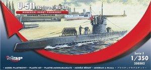 Mirage Hobby 350502 U-511 (IXC TURN I + WGr42) GERMAN SUBMARINE 1:350