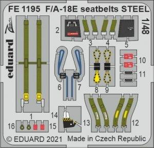 Eduard FE1195 F/A-18E seatbelts STEEL MENG 1/48