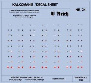 Weikert Decals DEC224 Emblematy na hełmy niemieckie - III REICH - vol. 24 1/35