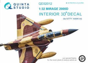 Quinta Studio QD32012 Mirage 2000D 3D-Printed & coloured Interior on decal paper (for Kitty Hawk kit) 1/32