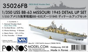 Pontos 35026FB USS BB-63 Missouri 1945 Detail Up Set (Deck Blue 20B stained wooden deck) (1:350)