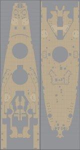 Pontos 35010WD1 USS BB-63 Missouri Wooden Deck set Natural tone (1:350)