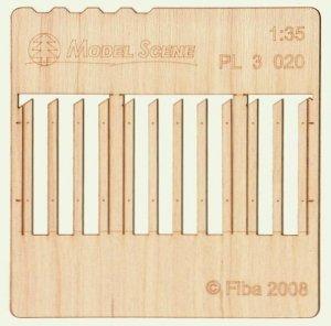 Model scene PL3-020 Wooden fence type 20  Drewniany płot 1/35