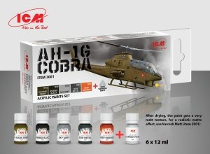 ICM 3001 Acrilyc paint set for ICM Bell AH-1G Cobra US Attack Helicopter 6x12ml
