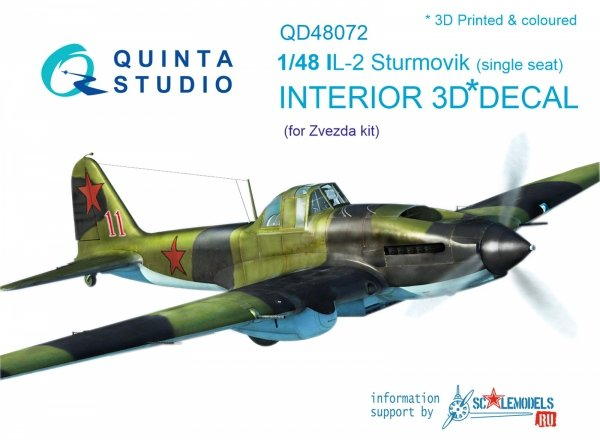 Quinta Studio QD48072 Il-2 Single seat 3D-Printed & coloured Interior on decal paper (for kit) 1/48