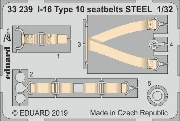 Eduard 33239 I-16 Type 10 seatbelts STEEL 1/32 ICM