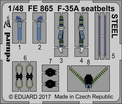 Eduard FE865 F-35A seatbelts STEEL 1/48 MENG