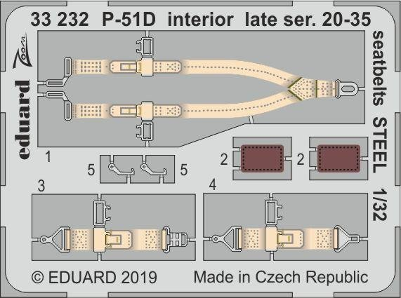 Eduard 33232 P-51D interior late ser. 20-35 seatbelts STEEL 1/32 TAMIYA