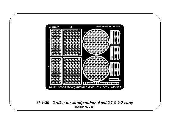 Aber 35G36 Siatki do Jagdpanther Ausf.G1 oraz G2 wczesny (Takom) 1/35