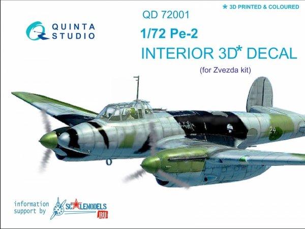 Quinta Studio QD72001 Pe-2 3D-Printed & coloured Interior on decal paper (for 7283 Zvezda kit) 1/72