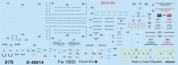 Eduard D48014 Fw 190D stencils 1/48
