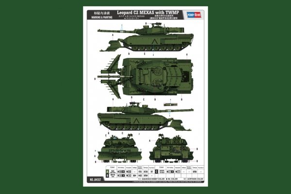 Hobby Boss 84557 Leopard C2 MEXAS with TWMP Track Width Mine Plow 1/35