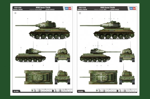 Hobby Boss 82602 Soviet T-34/85 (1:16)