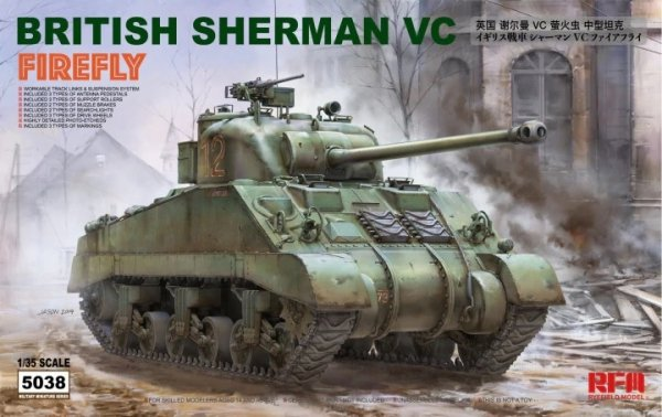 Rye Field Model 5038 British Sherman VC Firefly w/ workable track links 1/35