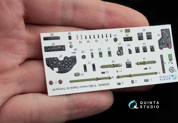 Quinta Studio QD48030 P-38G 3D-Printed & coloured Interior on decal paper (for Tamiya kit) 1/48