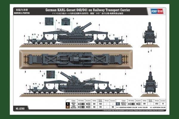 Hobby Boss 82961 German KARL-Geraet 040/041 on Railway Transport Carrier 1/72