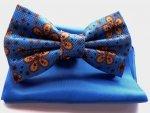 Papillon fantasia - con pochette - azzurro