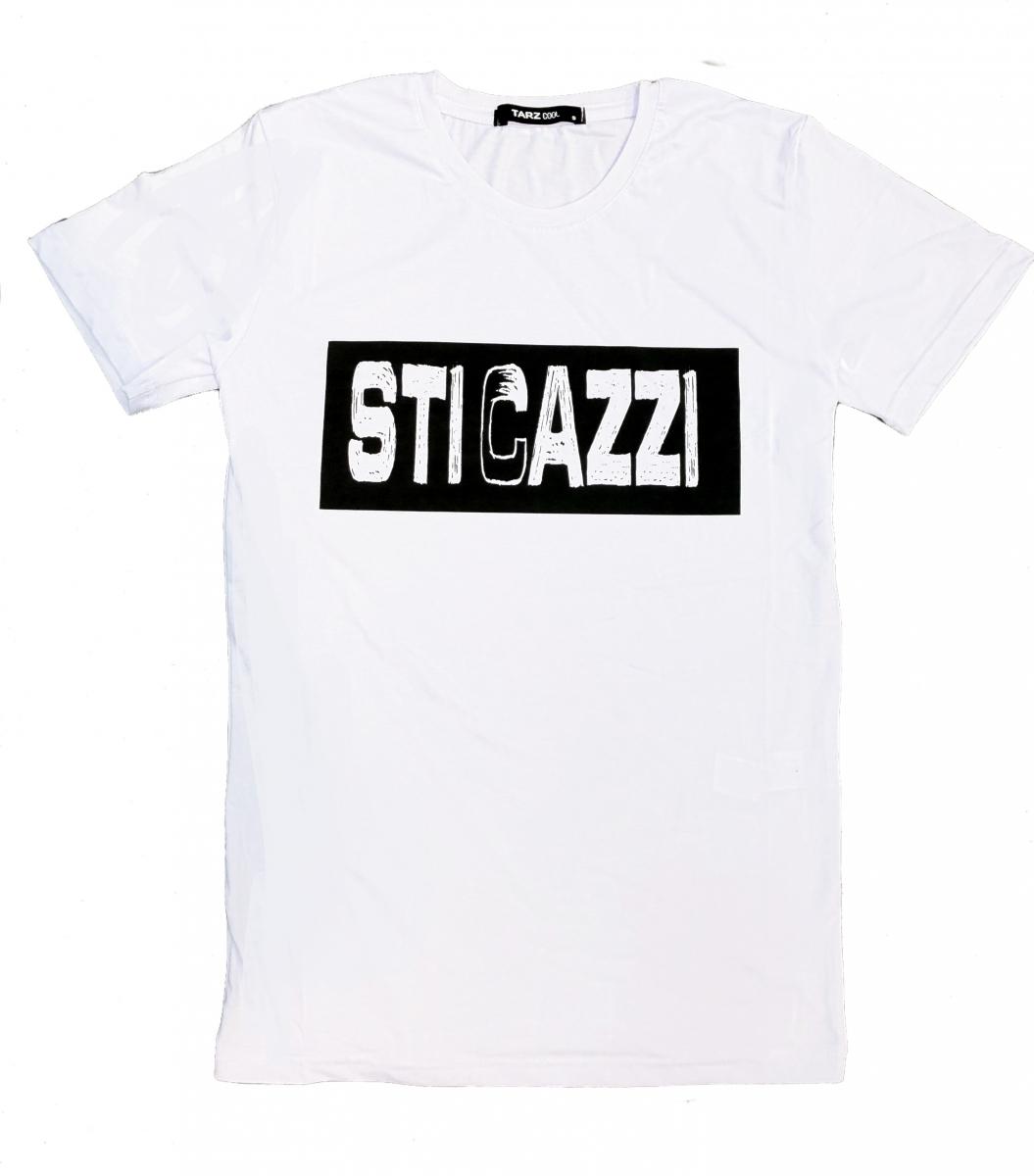 info for 5c716 1424c T shirt uomo - Maglietta bianca con Scritta divertente - T shirt sti cazzi