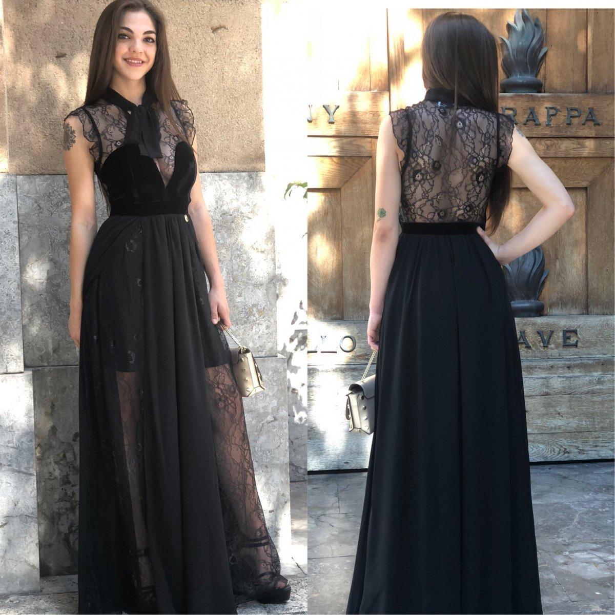 01ad48fe55c1 Abito lungo nero - Vestito elegante pizzo - Abito donna velluto -  Gogolfun.it