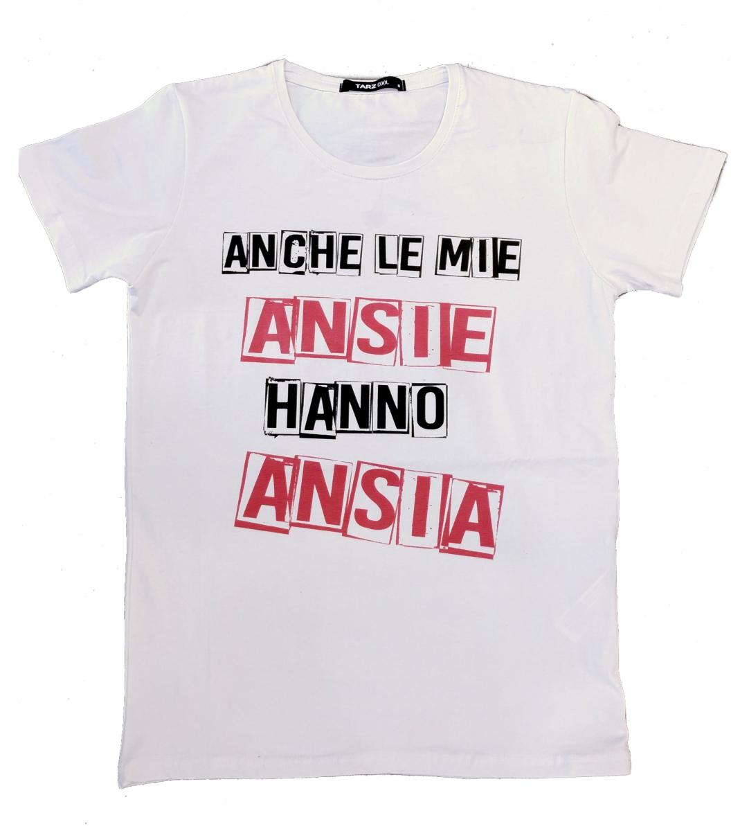 on sale 3c042 304a3 T shirt donna Ansia - Maglietta bianca con Scritta divertente