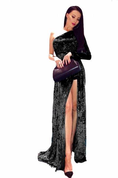 Vestito donna - Lungo - Monospalla - Nero