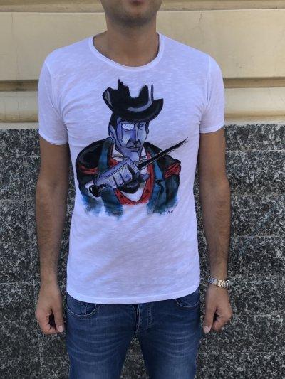 Tshirt - Mister X - 100% Cotone - Dipinta a mano