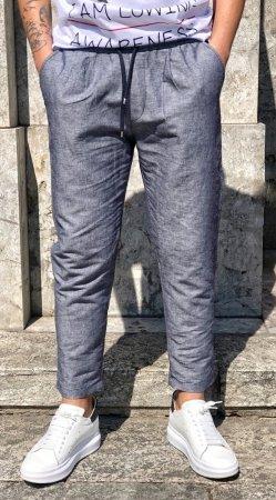 16de96a2e643 Pantaloni uomo - Blu chiaro - Con lacci - Lino-Cotone