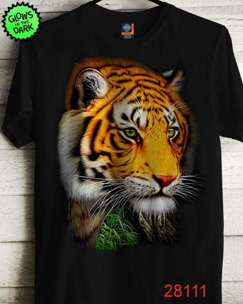 T shirt,  glow in the dark - Disegno Tiger 1 - Gogolfun.it