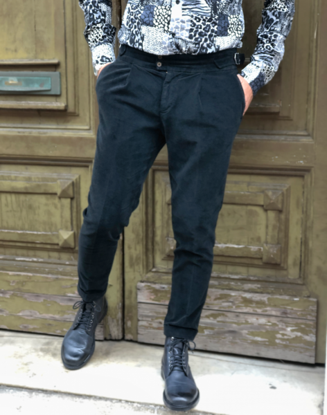 Paul Miranda - Pantaloni, velluto con pinces  - Made in Italy