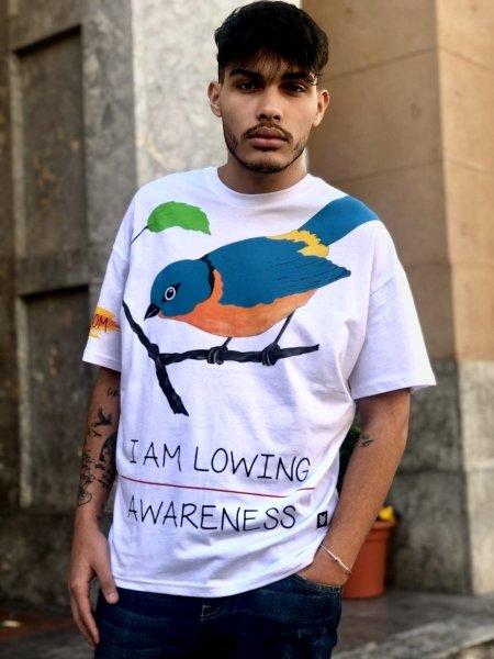T shirt uomo Bird - Maglietta bianca con stampa