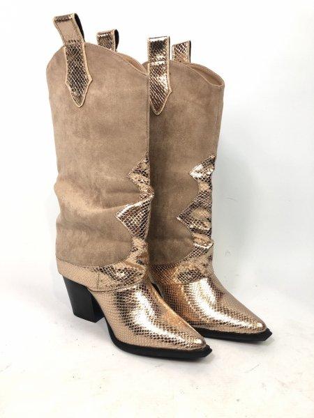 Stivali texani - beige - Tacco alto