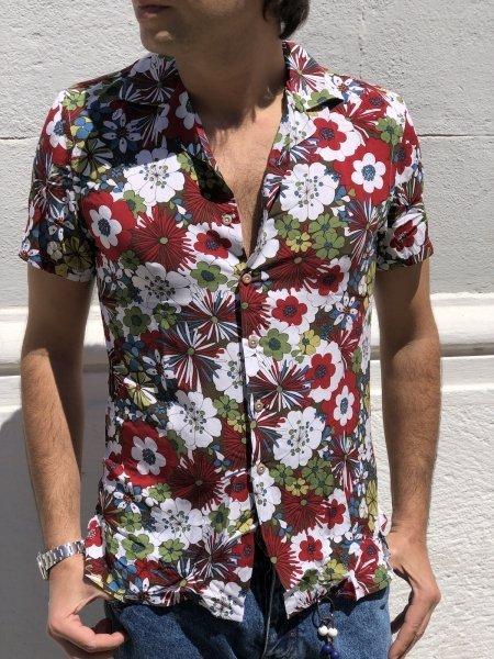 Camicia maniche corte - Fantasia floreale - Viscosa - Key Jey  - Abbigliamento online - Gogolfun.it