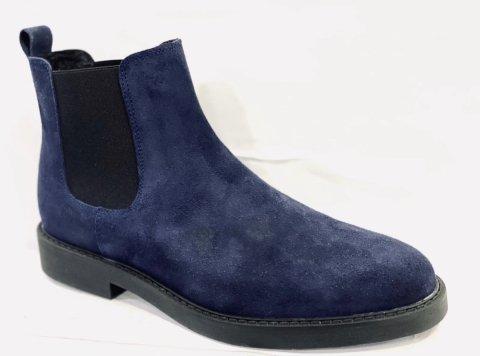 Stivaletto uomo, blu scamosciato - Vera Pelle - Made in Italy - Gogolfun.it