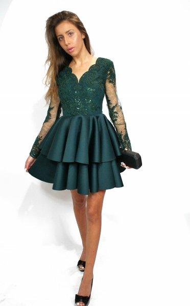 Vestito elegante corto, verde - Manichetta in pizzo - Vestiti eleganti, corti - Abiti da cerimonia gogolfun.it