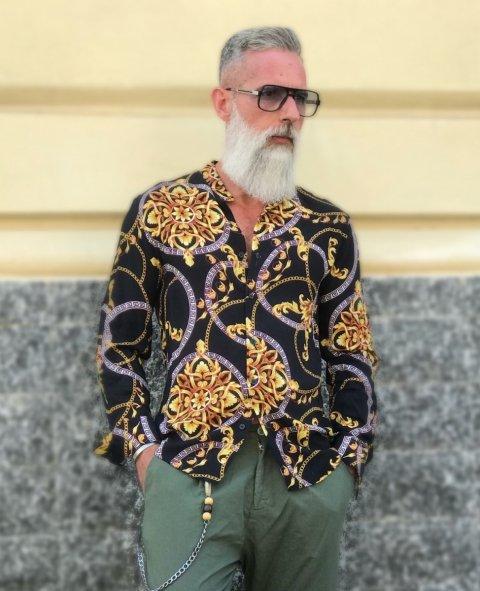 Camicia uomo fantasia - Stampa Versace - Manica lunga - Gogolfun.it