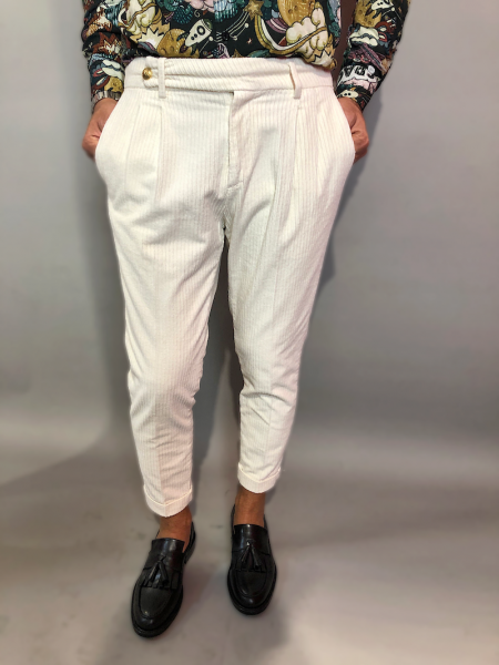 Pantaloni uomo, velluto - Paul miranda -Pantaloni uomo bianchi - Gogolfun.it