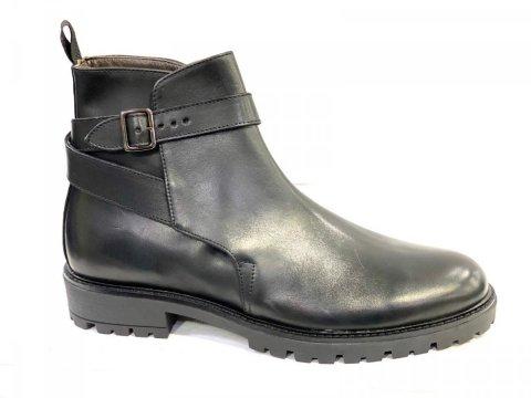 Męskie buty zimowe - skórzane - czarne - włoskie - Obuwie męskie - Gogolfun.pl