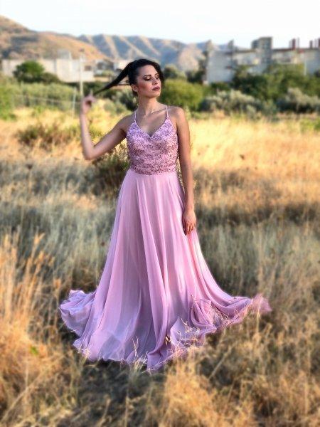 Abiti da cerimonia lunghi - Vestito lungo rosa cipria - Vestiti Gogolfun.it