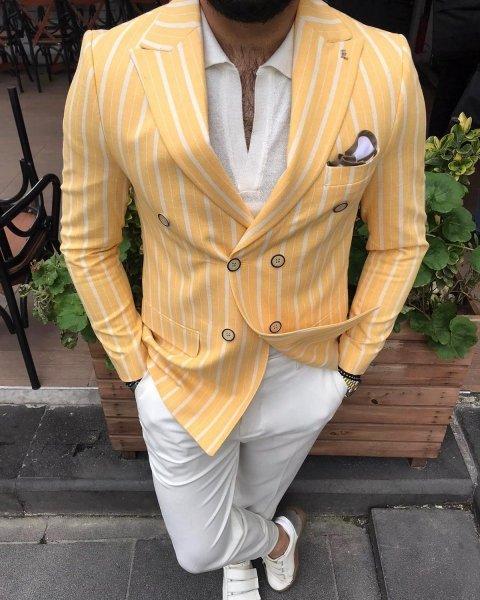 Giacca doppiopetto gialla - Gessato, giallo