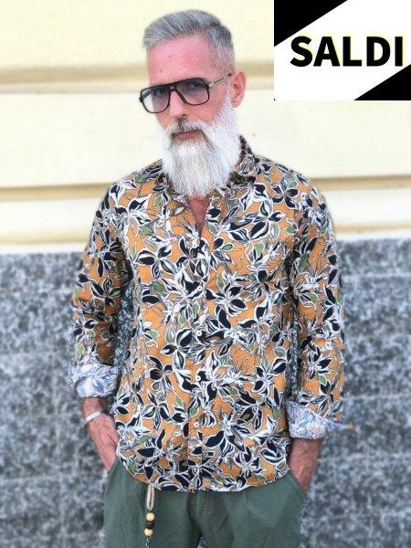 Camicia uomo fantasia - Floreale - Misto lino - Camicie uomo - Gogolfun.it