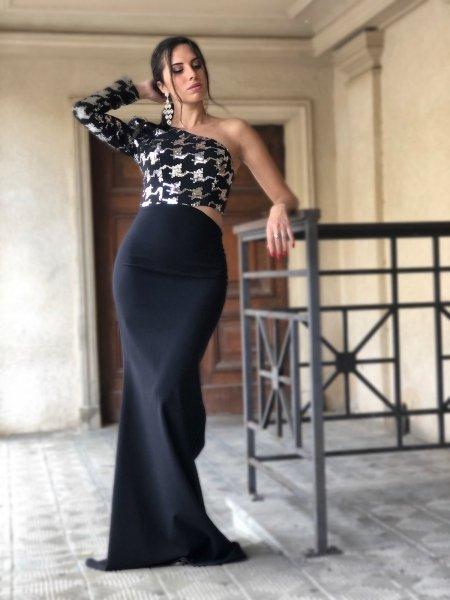 Vestito elegante - Nero - Monospalla - A sirena - Vestiti eleganti gogolfun.it