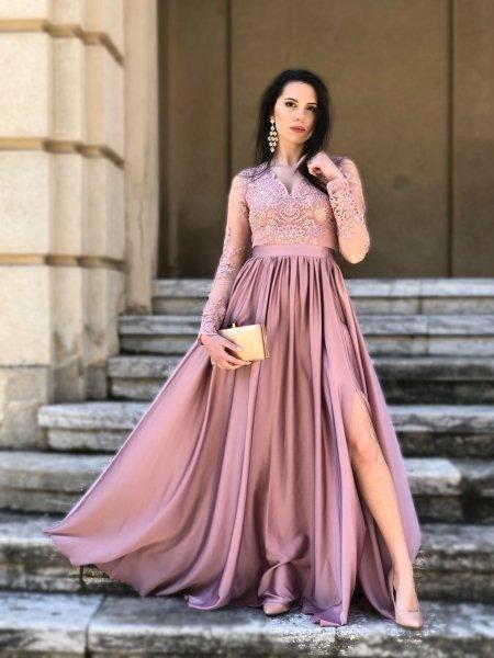 Vestito rosa, elegante - Con manichetta - Mary - Abiti da cerimonia - Gogolfun.it