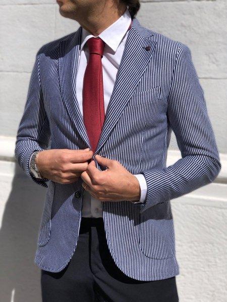 Paul Miranda - Giacca uomo blu, righe bianche - Abbigliamento online - Gogolfun.it