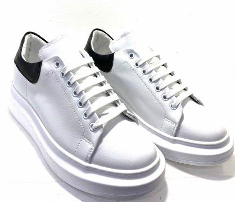Sneakersy skórzane męskie - kolor biały - Włoskie - Sklep online - Gogolfun.pl
