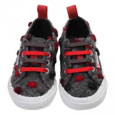 Scarpe neonato,  sportive grigie e rosse - Superga - Gogolfun.it