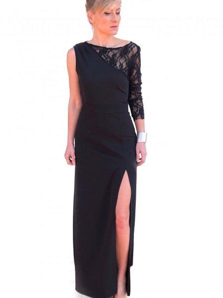 Vestiti eleganti - Abito nero con spacco - Vestito in pizzo - Gogolfun.it