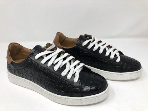 Buty męskie ze skóry - Sneakers - Czarne - Made in Italy - Sklep z obuwiem - Gogolfun.pl