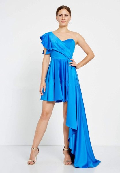Vestito corto elegante, blu - Sfasato - Vestiti corti - Online - Gogolfun.it