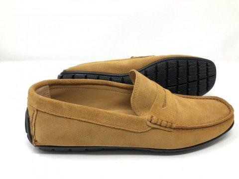 Buty męskie skórzane - mokasyny - Zamszowe - Żółte - Made in Italy - Gogolfun.it